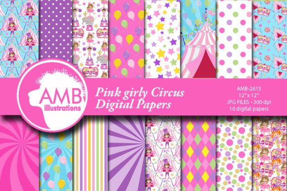 Pink Circus Papers Graphic Patterns By AMBillustrations