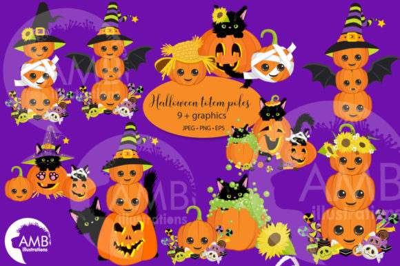 Pumpkin Totem Poles Clipart 2665 Graphic Illustrations By AMBillustrations