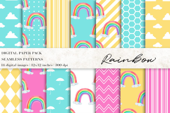 Rainbow Digital Papers Grafik Muster von BonaDesigns