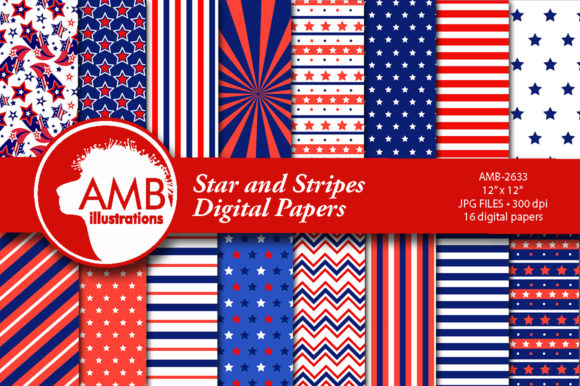 Stars and Stripes Papers Graphic Patterns By AMBillustrations