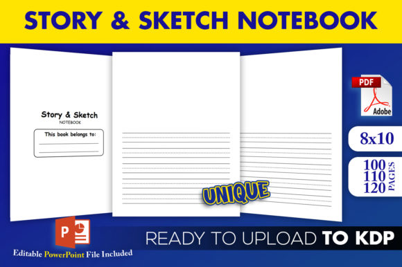 Print on Demand: Story & Sketch Notebook | KDP Interior Graphic KDP Interiors By Beast Designer