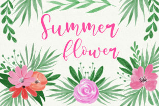 Print on Demand: Summer Flower Watercolor Clip Art Graphic Illustrations By PinkPearly