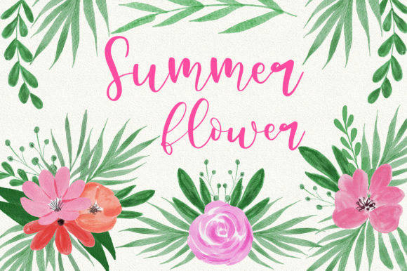 Summer Flower Watercolor Clip Art Graphic Illustrations By PinkPearly