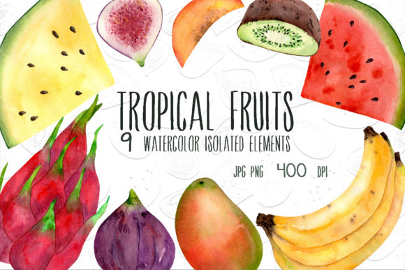 Print on Demand: Tropical Fruits Graphic Illustrations By VashaRisovasha