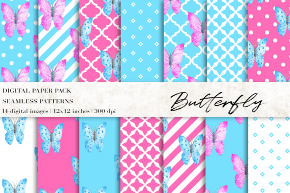 Watercolor Butterfly Digital Papers Graphic Patterns By BonaDesigns