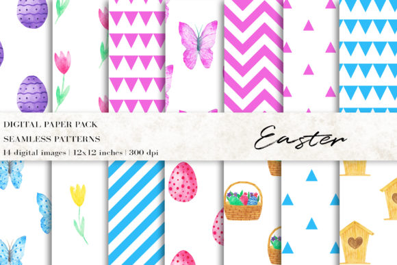 Watercolor Easter Digital Papers Graphic Patterns By BonaDesigns