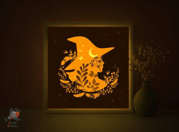 Witch Halloween Magic Light Box Template Graphic 3D Shadow Box By SweetieGraphics