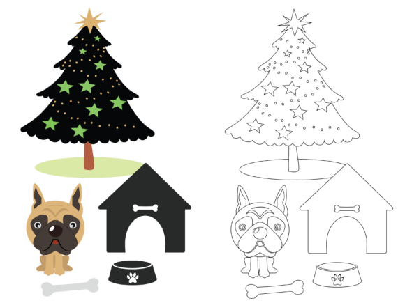 Dog Coloring Kids Christmas Graphic Illustrations By optimasipemetaanlokal