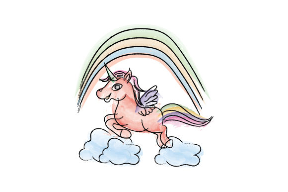 Print on Demand: Nice Unicorn in Watercolor Graphic Illustrations By curutdesign