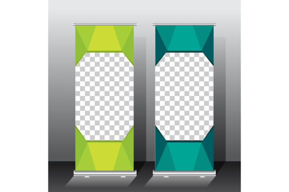 Print on Demand: Roll Up Banner Template Design. Green Graphic Backgrounds By ojosujono96