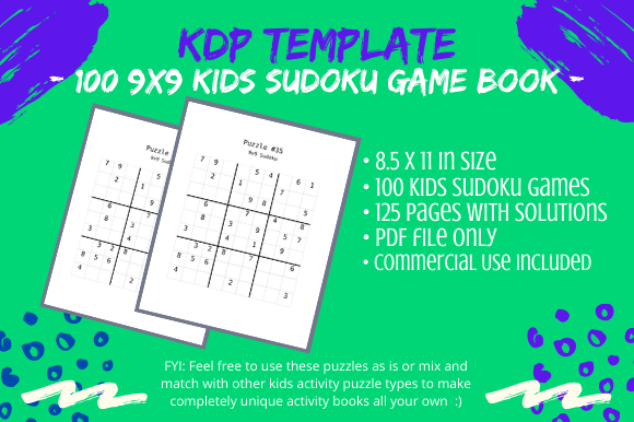 Print on Demand: 100 9x9 Sudoku Puzzles Book for Kids KDP Graphic KDP Interiors By Tomboy Designs