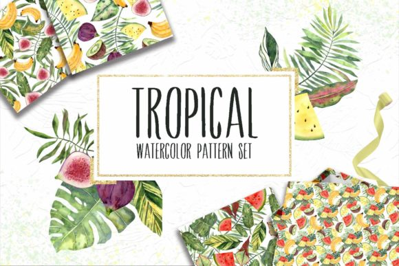 Print on Demand: 12 Watercolor Tropical Patterns Set Graphic Patterns By VashaRisovasha