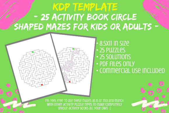 Print on Demand: 25 Circle Shaped Mazes for Activity Book Graphic KDP Interiors By Tomboy Designs