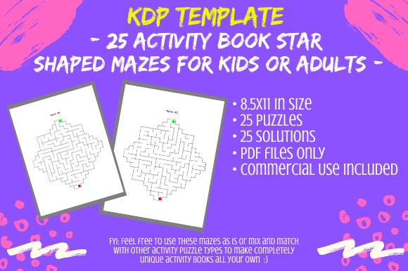 Print on Demand: 25 Star Shaped Mazes for Activity Books Graphic KDP Interiors By Tomboy Designs
