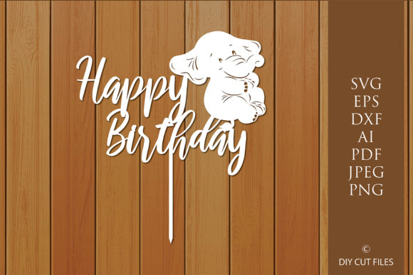 Print on Demand: Baby Happy Birthday Cake Topper   Graphic Crafts By MeshaArts