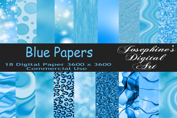 Print on Demand: Blue Bokeh Digital Paper Designs Graphic Graphic Templates By Josephine's Digital Art