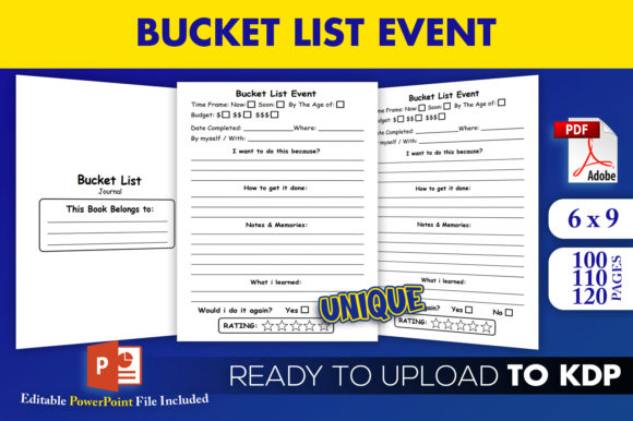 Print on Demand: Bucket List Event Journal | KDP Interior Grafik KPD Innenseiten von Beast Designer