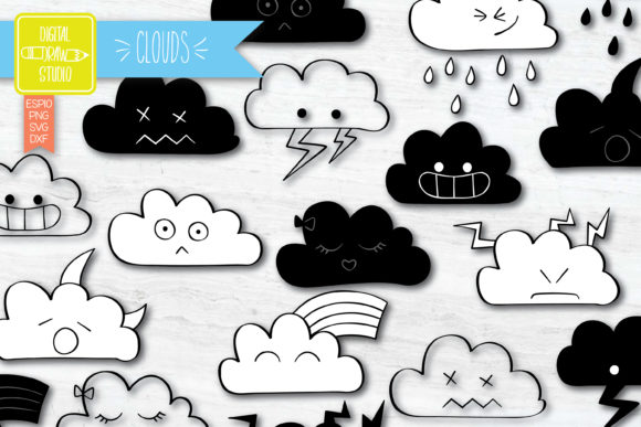 Clouds Kawaii | Hand Drawn Weather Graphic Illustrations By Digital_Draw_Studio