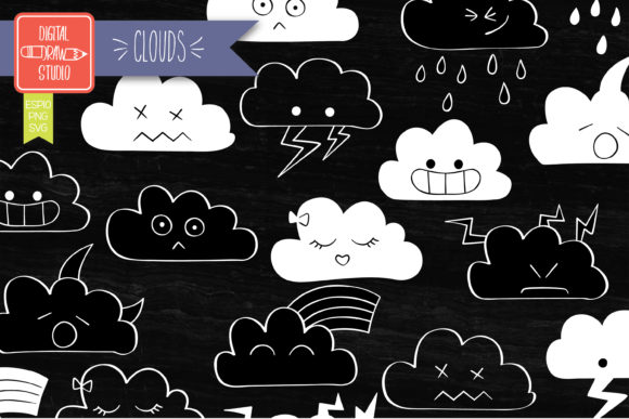 Clouds Kawaii White | Hand Drawn Weather Graphic Illustrations By Digital_Draw_Studio