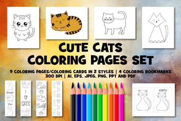 Print on Demand: Cute Cat Coloring Pages Set Graphic Coloring Pages & Books Kids By Janet's Cute Designs - Image 1