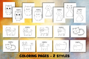Print on Demand: Cute Cat Coloring Pages Set Graphic Coloring Pages & Books Kids By Janet's Cute Designs 2