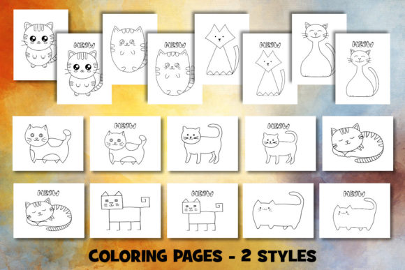 Print on Demand: Cute Cat Coloring Pages Set Graphic Coloring Pages & Books Kids By Janet's Cute Designs - Image 2