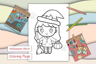 Print on Demand: Cute Girl Witch Halloween Graphic Coloring Pages & Books Kids By 18CC 1