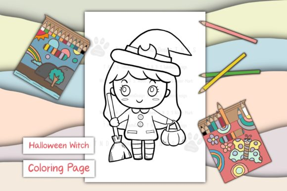 Cute Girl Witch Holloween Gráfico Libros para colorear - Niños Por TakeNoteDesign