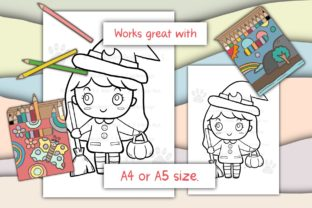 Print on Demand: Cute Girl Witch Halloween Graphic Coloring Pages & Books Kids By 18CC 2