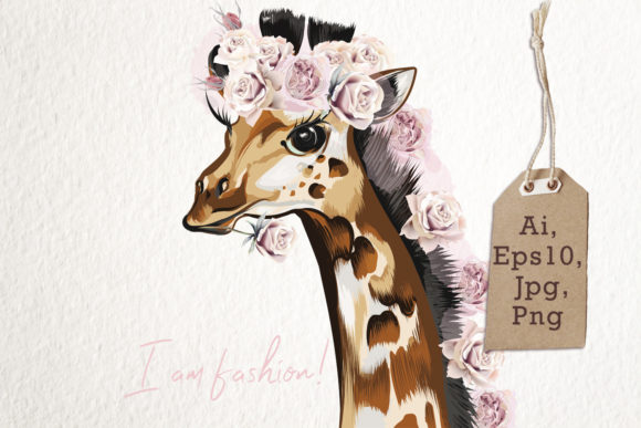 Fashion Vector Giraffe in Roses Graphic Illustrations By fleurartmariia