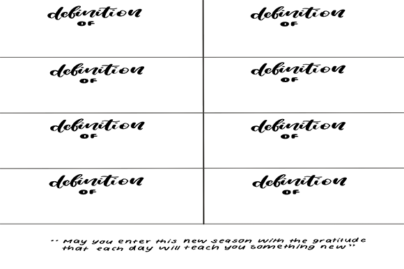 Print on Demand: Flash Card Definition Graphic 11th grade By arts4busykids
