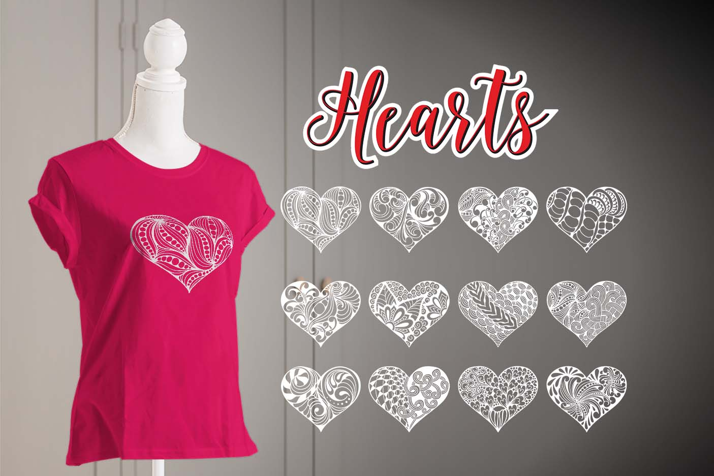 Hand Drawn Hearts Pack SVG File