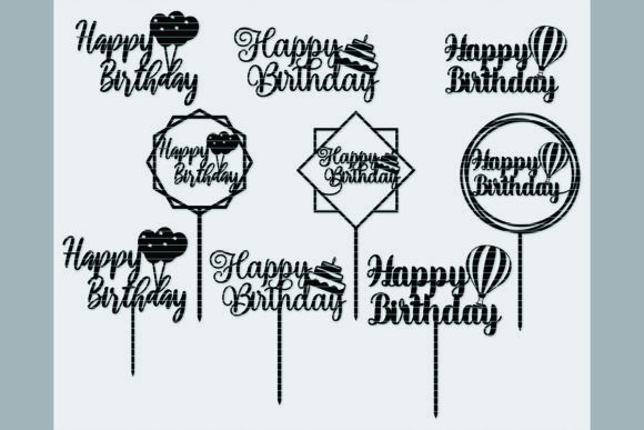 Print on Demand: Happy Birthday Cake Topper Bundle Graphic Crafts By MeshaArts