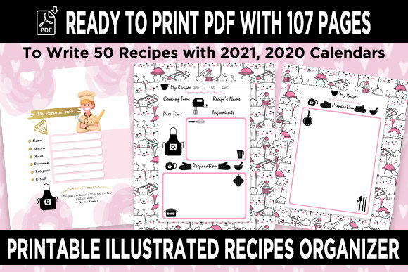 Print on Demand: KDP 50 Recipes Organizer Notebook Vol 1 Graphic KDP Interiors By Queen Dreams Store
