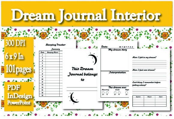 Print on Demand: KDP Dream Journal Interior Graphic KDP Interiors By Ivana Prue - Image 1