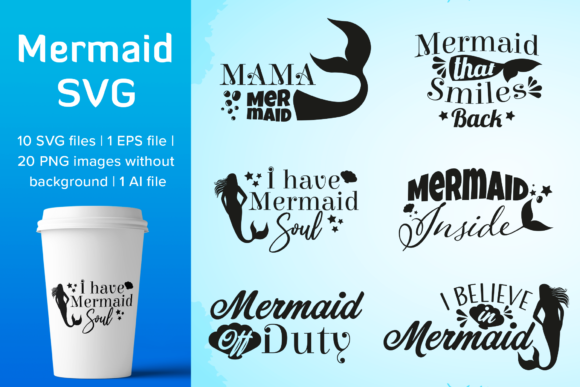 Print on Demand: Mermaid Design Bundle Graphic Illustrations By Simply Swapnil