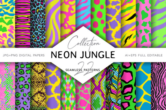 Neon Animal Print Grafik Muster von digitalEye