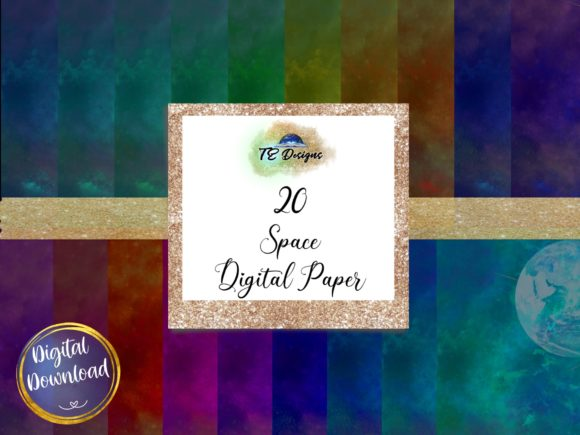 Print on Demand: Space Digital Papers Graphic Backgrounds By TE Designs