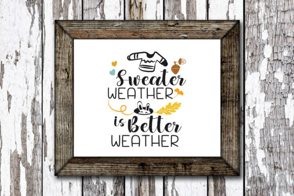 Print on Demand: Sweater Weather Autumn Quote Graphic Crafts By KtwoP