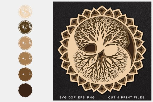 Tree of Life Cut File Yin Yang Gráfico SVG en 3D Por 2dooart