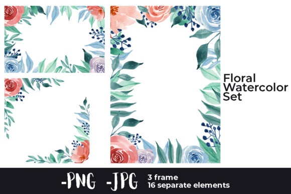 Print on Demand: Watercolor Flower Rose Square Frame Set Graphic Crafts By AzrielMch