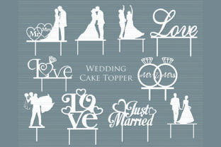 Print on Demand: Wedding Cake Topper Bundle Graphic Crafts By MeshaArts
