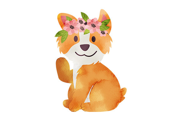 Corgi with Flower Crown Hunde Plotterdatei von Creative Fabrica Crafts