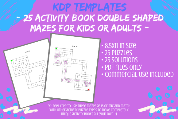 Print on Demand: 25 Double Shaped Mazes for Activity Book Graphic KDP Interiors By Tomboy Designs