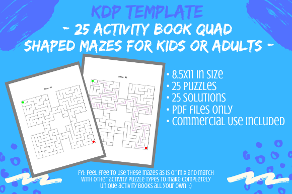 Print on Demand: 25 Quad Shaped Mazes for Activity Books Graphic KDP Interiors By Tomboy Designs