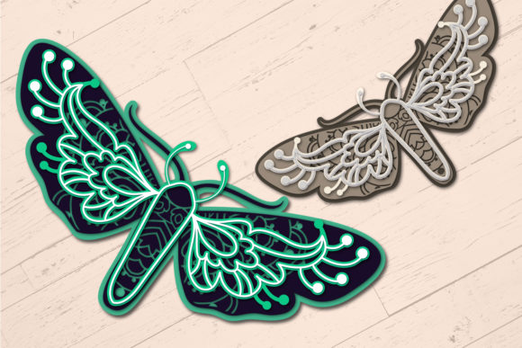 Print on Demand: 3D Zentangle Dragonfly | 3D Papercut   Graphic 3D SVG By tatiana.cociorva - Image 4