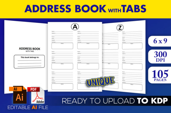 Print on Demand: Address Book with Tabs | KDP Interior Graphic KDP Interiors By Beast Designer - Image 1