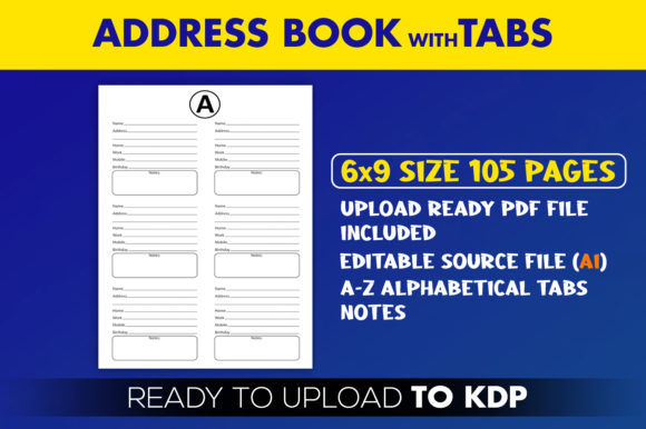 Print on Demand: Address Book with Tabs | KDP Interior Graphic KDP Interiors By Beast Designer - Image 2