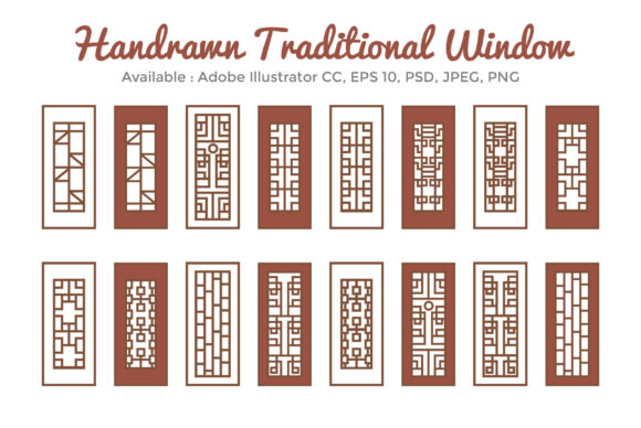 Asian Traditional Window Bundle Graphic Illustrations By griyolabs