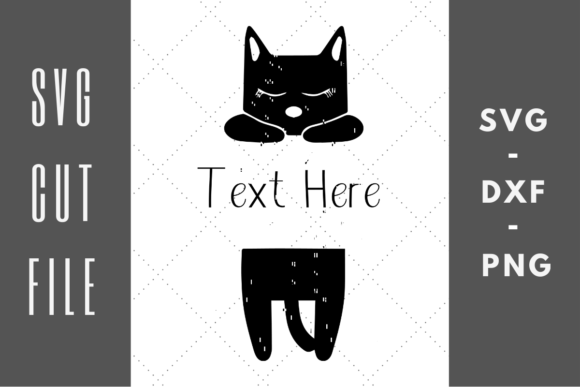 Print on Demand: Black Sleeping Cat Name Graphic Crafts By Abigail Burt Designs